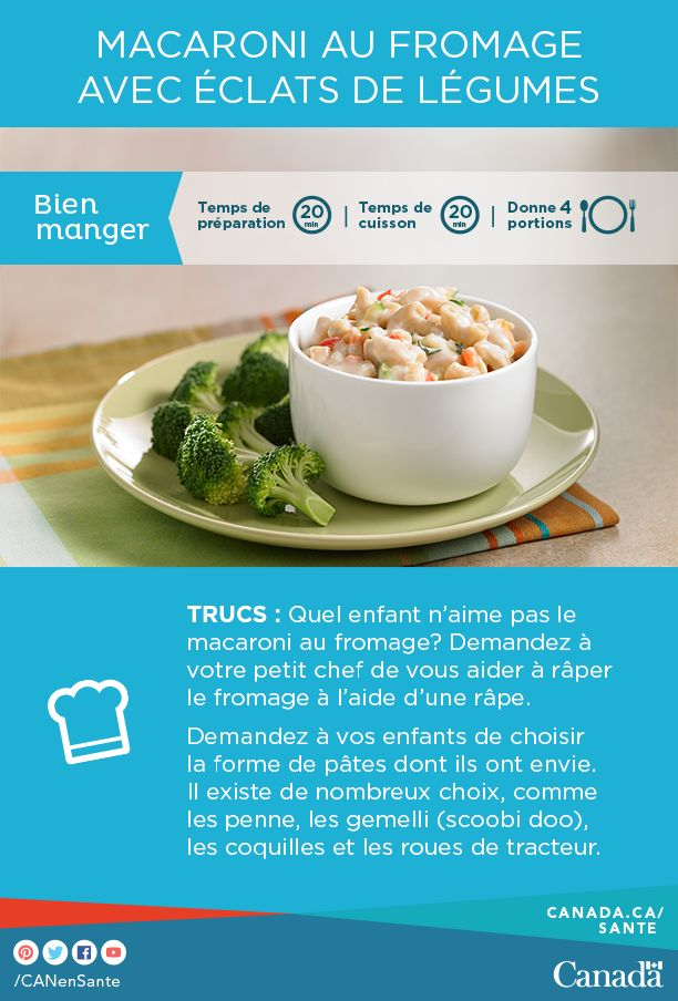 : Ce macaroni au fromage avec légumes plaira   http://www.canadiensensante.gc.ca/eating-nutrition/healthy-eating-saine-alimentation/recipes-recettes/mac_cheese_macaroni_fromage-fra.php?utm_source=pinterest_hcdns&utm_medium=social_fr&utm_content=nov26_macrep7&utm_campaign=social_media_14