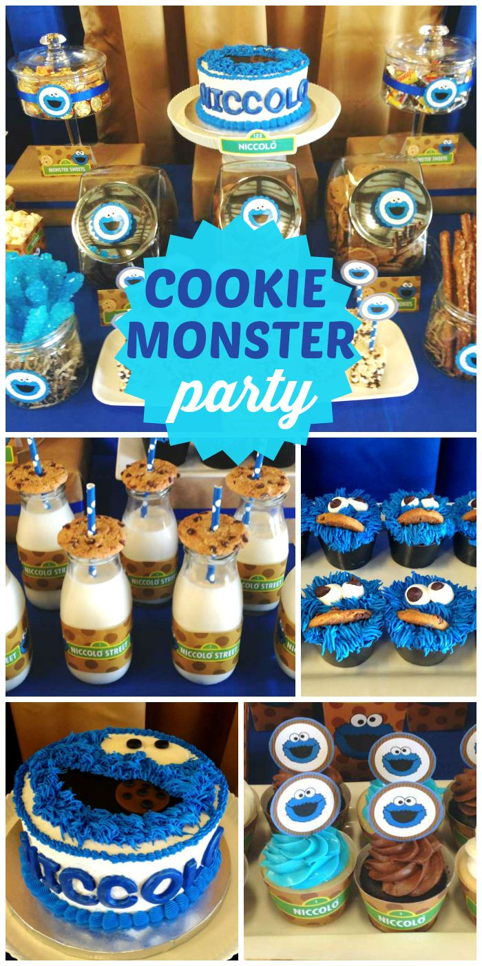 An awesome Cookie Monster boy first birthday party with an amazing dessert table and cookie treats!  See more party ideas at CatchMyParty.com!