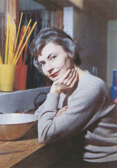 grete prytz kittlesen, designer of the iconic lotus print enamelware for catherineholm, in her studio c. 1960s