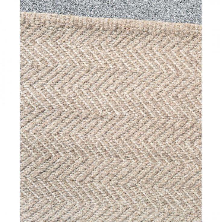 Herringbone Floor Rug in Granite and Ecru