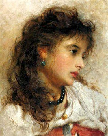 """""""Zilla, a Gypsy Girl,"""" 1877 -- by George Elgar Hicks (British, 1824–1914)"""