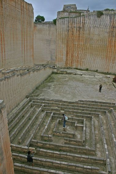 A spectacular maze (almost) labyrinth in a quarry at Lithica. What an amazing setting.