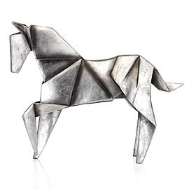 Silver origami horse