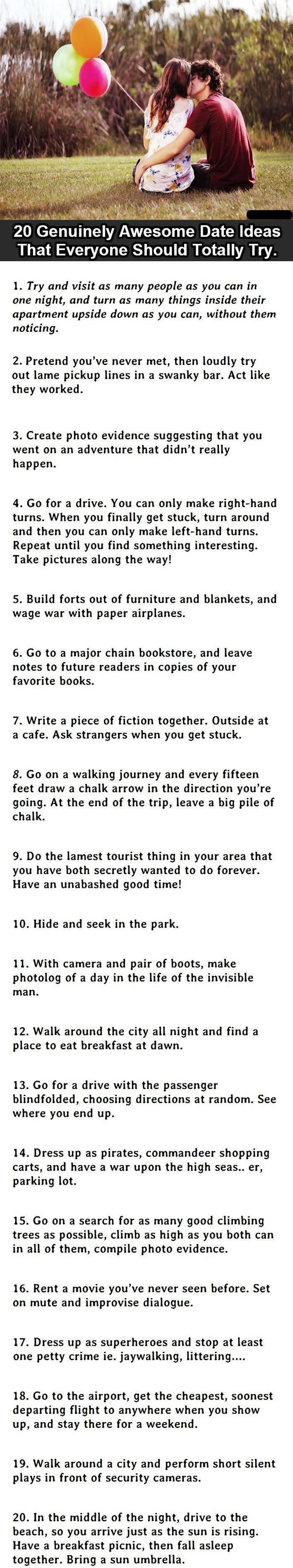 Perfect dates. If your significant other agrees to any of these. Keeper.