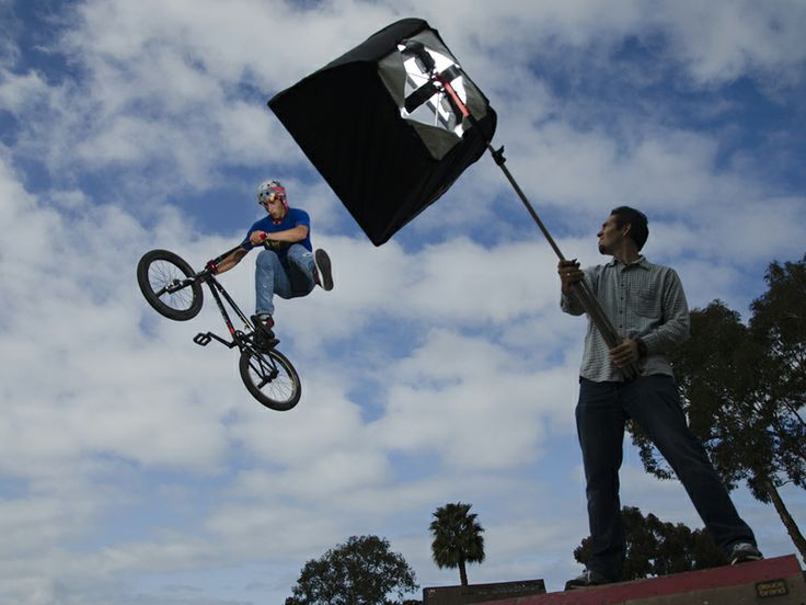 Award-winning Photographer Tim Mantoani, BMX Rider Mitch McKelvey and the crew on location for Understanding the Nikon SB-910 Speedlight. — in San Diego, CA.  Visit out website to learn more about this Speedlight training DVD.  www.bluecranedigital.com