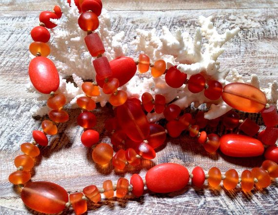 SUNSET ORANGE NECKLACE extra long resin beads by MissionDesign