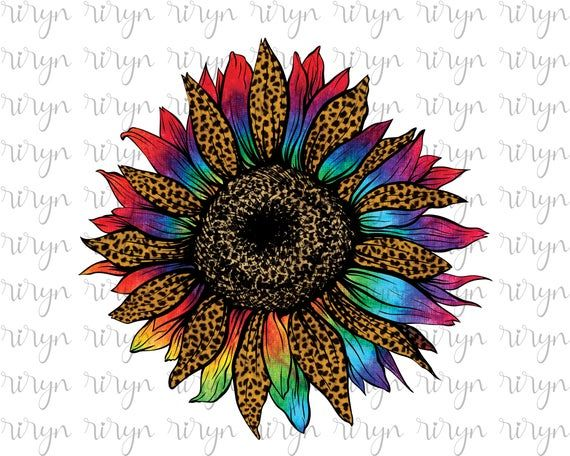 Tie Dye Leopard Sunflower Sublimation Png Colorful Sunflower Etsy Sunflower Iphone Wallpaper Tole Painting Patterns Sublime