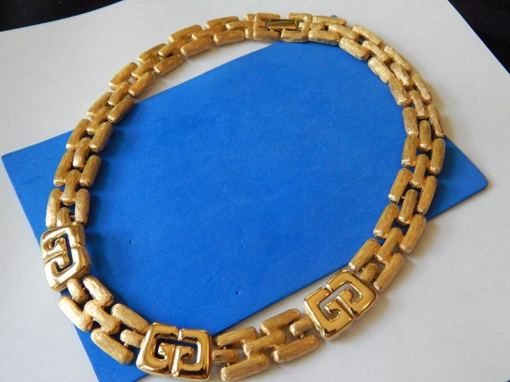 Vintage Gold GIVENCHY Logo Accent Fancy Link Necklace  #Givenchy #Chain