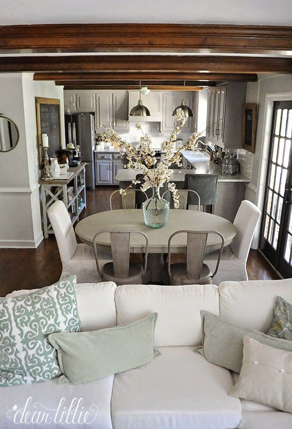 Eat in kitchen and family room decorating with neutrals driven by decor