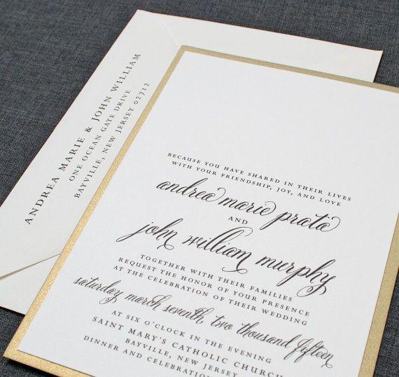 Andrea Wedding Invitation  Metallic Gold by CricketPrinting, $5.00