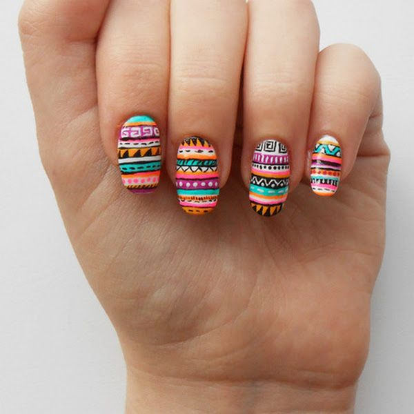 109 best diseos para uas images on pinterest nail designs bohemian aztec tribal nails with bright color tribal print nail prinsesfo Image collections