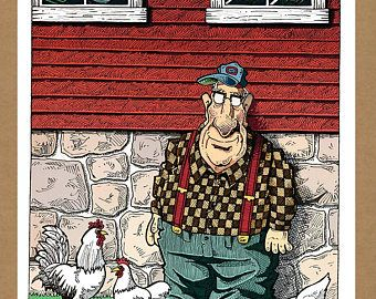 THE WALTER SERIES - Portrait With Chickens - Limited Edition Digital Art Print- Current print #1 of 50