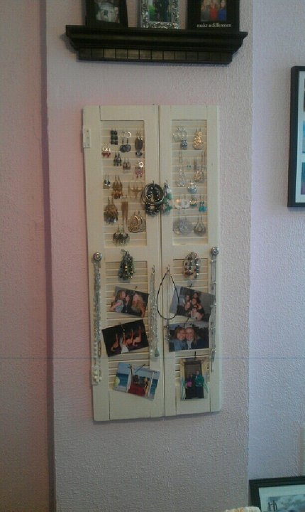 Have to give credit to @Karen Kegerreis for this one. Repurposed old wooden shutters to create a jewelry holder. Add some hooks or dresser drawer knobs for hanging. The pictures are just clipped on with bobby pins... one of my most favorite room decorations!