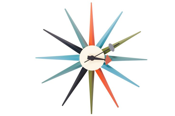 Replica George Nelson Starburst Clock -- Our Replica George Nelson inspired Starburst Clock is inspired on the original designs of George Nelson in the 1950's. This bright and interesting design, with classic retro 50's colours provides a stylish alternative to the boring clocks that adorn many walls today. This inspired design is truly timeless and would suit both the home or workplace. --89.0000