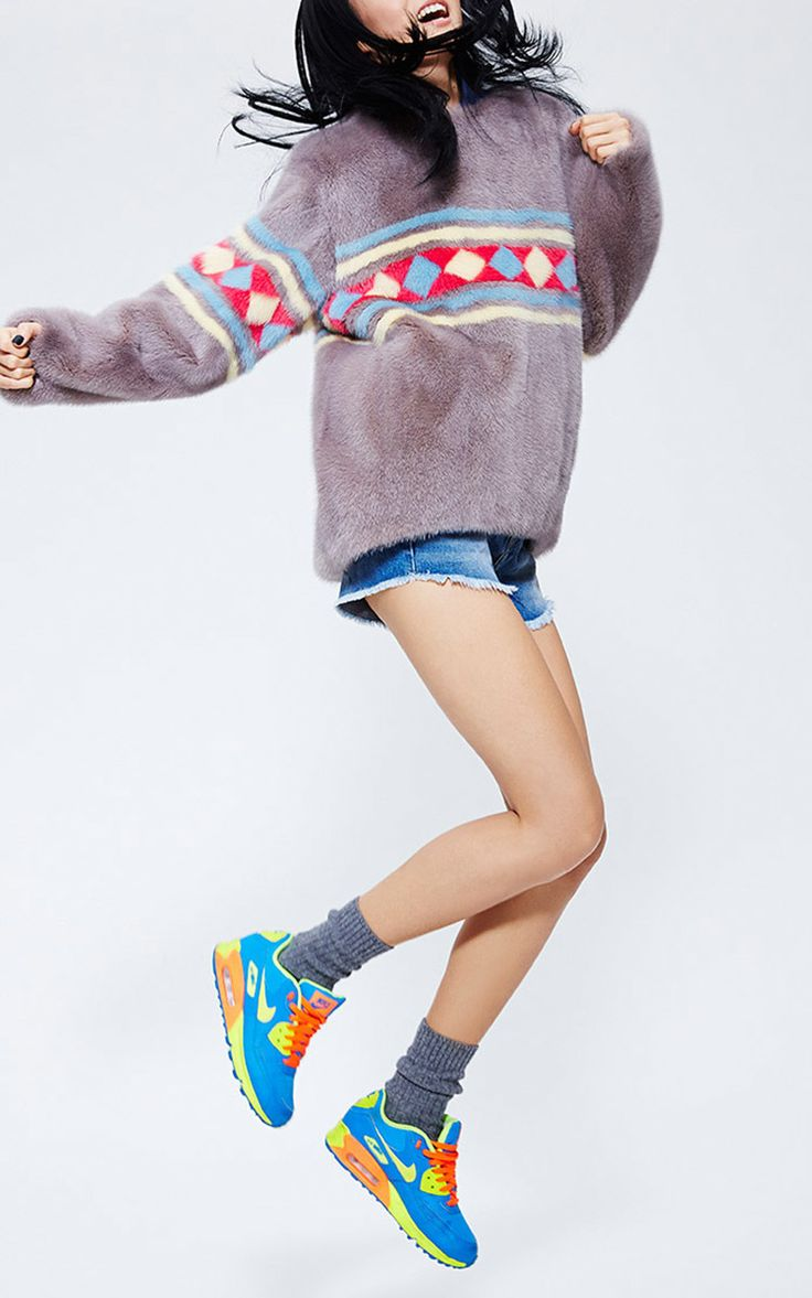 Dyed Mink Sweater With Color Fur Intarsia by MATE OFFICIAL for Preorder on Moda Operandi