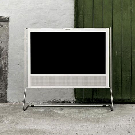 Hey look, a high-end electronic design that hasn't been slathered in glossy black plastic and blue LEDs! :  Bang & Olufsen BeoPlay V1 TV.