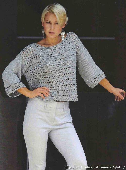 Пуловеры. спицы   Вязаные джемперы, Связанная крючком туника, Связанные крючком топы