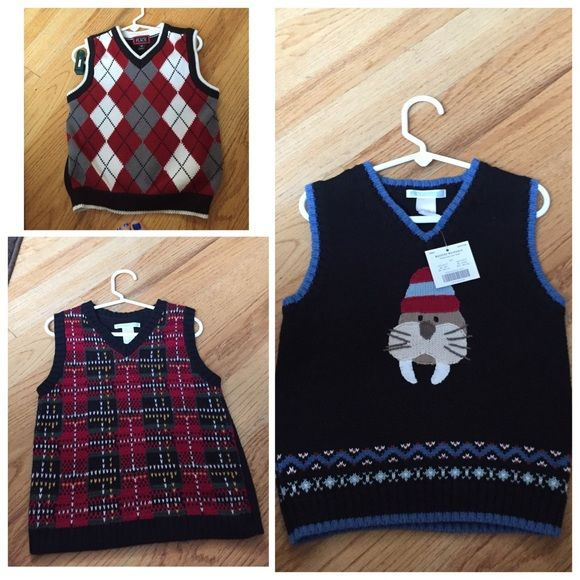 Set of 3, boys sweater vests Janie and Jack All size 4t, 2 are Janie and jack and one is children's place. Nwt or worn only once Janie and Jack Sweaters