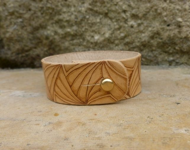 Leather wristband bracelet decorated with pyrography £10.00