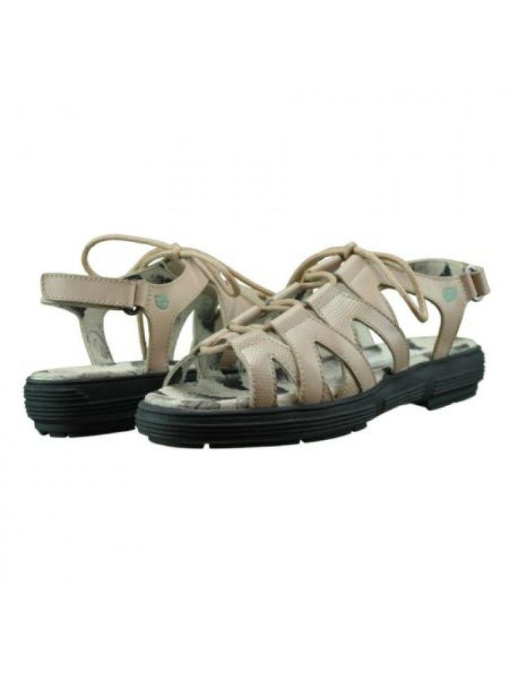 Golfstream Ladies Khaki (Faux Lizard) Lace-Up Strappy Golf Sandal