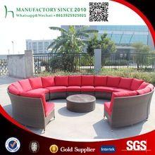 Jardín de ratán sofá curvado moderno al aire libre de mimbre PE sofá seccional