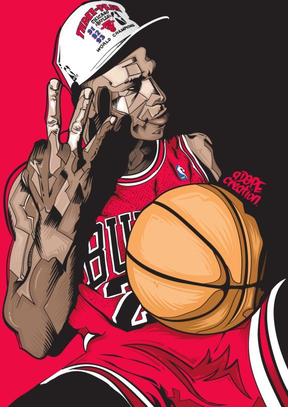 Artist Kurei Poe aka Adopecreation from Hamilton, New Zealand captures Chicago Bulls legend Michael Jordan in all of his 3-Peat glory circa 1993. Description from lockerdome.com. I searched for this on bing.com/images