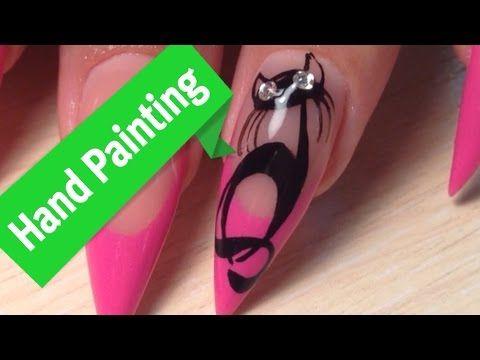 Черные кошки на ногтях Популярный и простой дизайн - YouTube