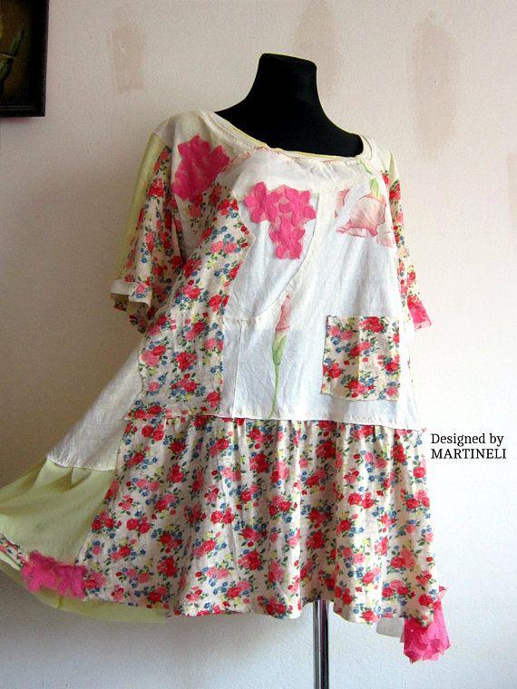 e1bf51c0d1 XXL Hippie Boho Tunic Upcycled Clothing Patchwork Dress Plus