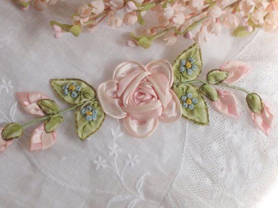 Antique silk ribbonwork roses rose buds broderi old