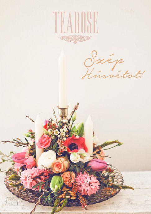 Húsvéti dekoráció, húsvéti virágkompozíció gyertyákkal, tavaszi asztaldekoráció pipaccsal, orgonával és tulipánnal   Easter decoration, flower composition with candles, with ponceau, organ and tulip, spring flower composition for table