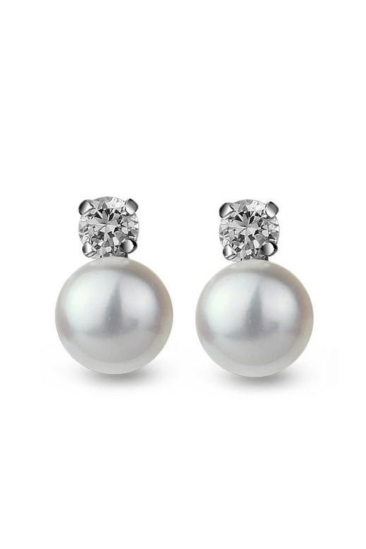 From Goodnight Macaroon ROYAL FRESHWATER CULTURED PREMIUM ROUND PEARL DIAMOND STERLING SILVER EARRINGS