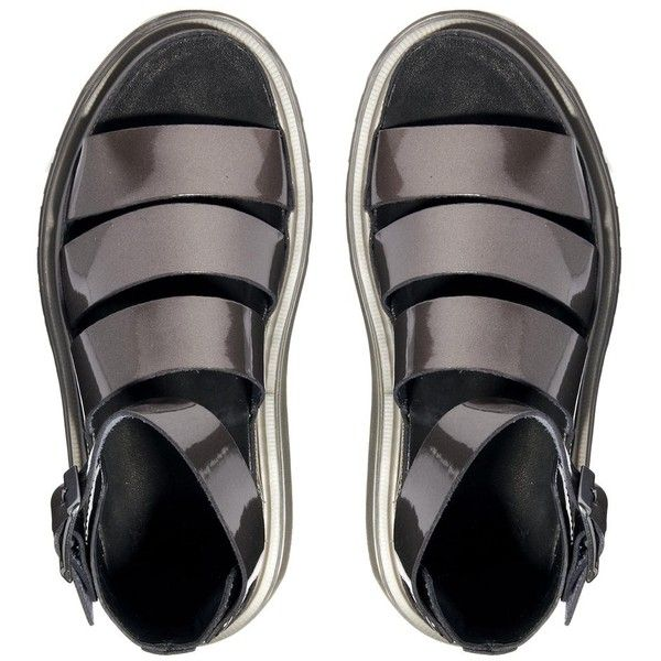 Dr Martens Pewter Shore Clarissa Chunky Strap Sandals ($99) ❤ liked on Polyvore featuring shoes, sandals, metallic shoes, multi strap sandals, metallic sandals, metallic strappy sandals and pewter sandals