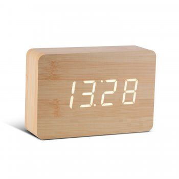 Gingko Rechargeable Brick Beech Wood Click Alarm Clock Digital White LED
