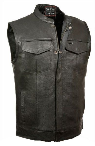 Club Vest Buffalo Leather Motorcycle Vest Dual Gun Pockets