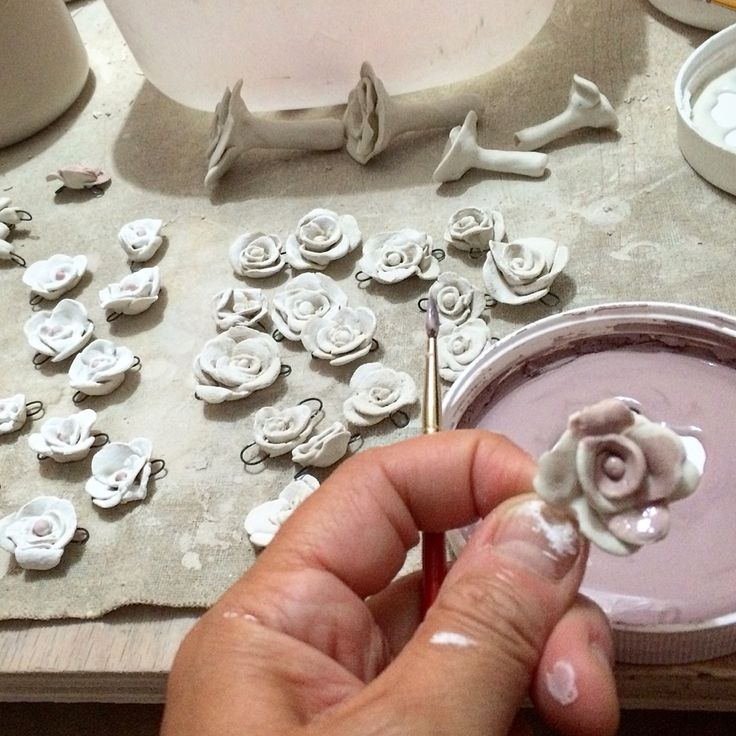 My new rosebud beads. Ready for the kiln.