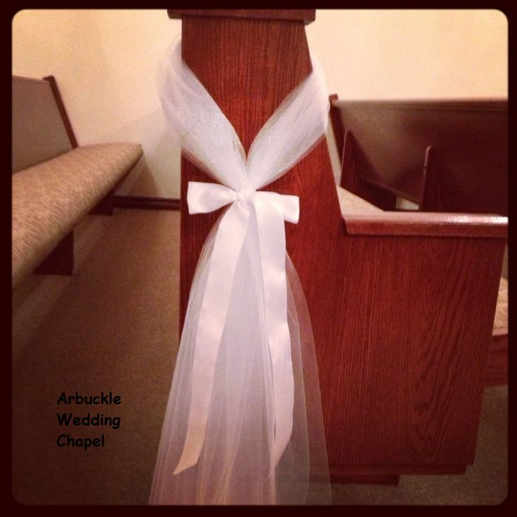 Simple, elegant.  Flowers, colored bows, can be added to this basic pew decor.