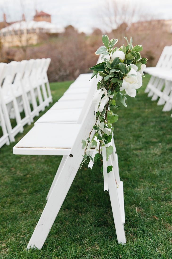 Variegated Greenery and White Peony Aisle Markers | Rhode Island | Photo: Erin McGinn Photography | http://knot.ly/6498BIpMa | http://knot.ly/6499BIpMx