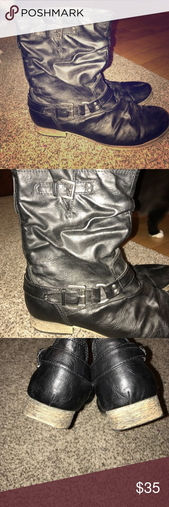 Carlos Santana Boots Carlos by Carlos Santana Boots - Gently worn - Black - Leather - has zipper and buckle details -  not right around calf like a combat boot - Heels show a little wear (pictured) but barely noticeable - shorter boot go up to about mid calf or lower - EUC 👢 Carlos Santana Shoes Combat & Moto Boots