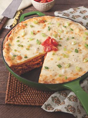 Baked Enchilada Pie | Paula Deen Could totally make this vegan