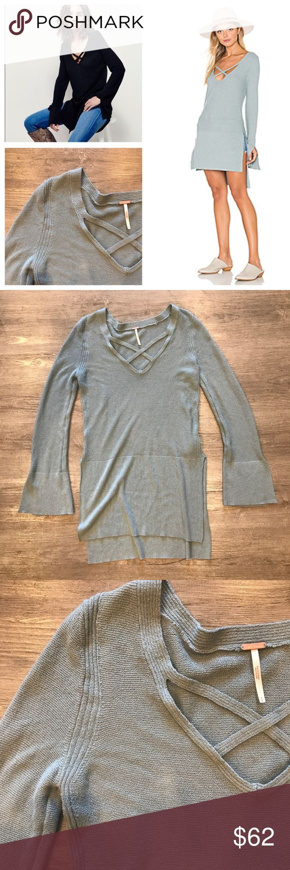 Free People CrissCross Sweater Gorgeous and on trend Free People CrissCross Sweater Tunic in Sky. Size small. In like new condition. Feel free to ask any questions below or make me an offer! Bundle to automatically save! Free People Sweaters V-Necks