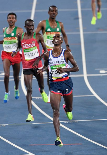 Mo Farah of Great Britain celebrates victory in the Men's 10000m on Day 8 of the Rio 2016 Olympic Games at the Olympic Stadium on August 13 2016...