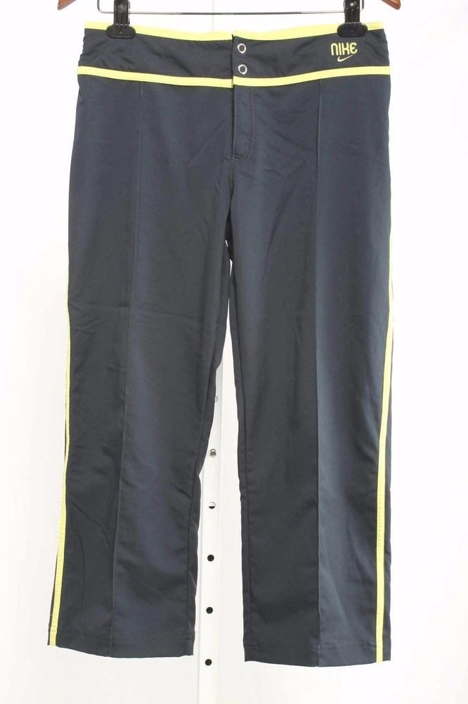 Nike Size S (4-6) Navy Blue with Lime Green Trim Cropped Pants 2977 L416  | eBay