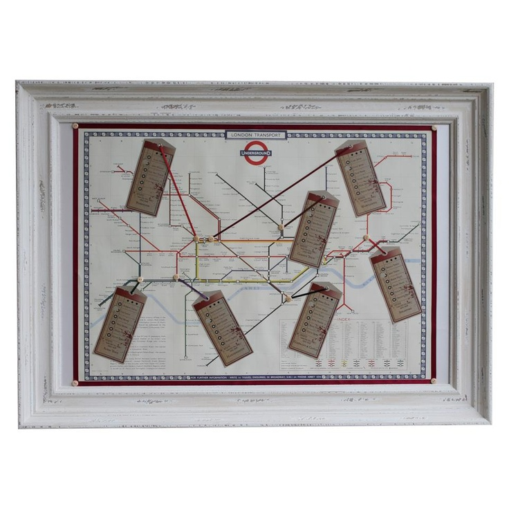 Vintage London Underground Map Wedding Table Seating Plan Idea with Ribbons, Buttons and Tags. http://thehandcraftedcardcompany.co.uk/cardcrafts/8944-diy-table-plan-posters-for-weddings-and-special-occasio.asp?refid=8948