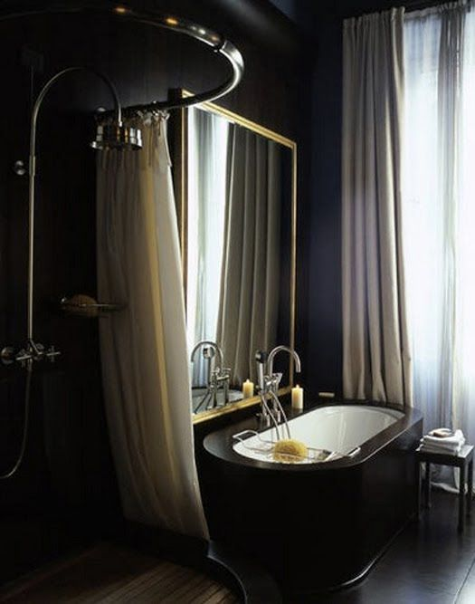 Relaxing in a nice warm bubble bath with candles.Decor, Black Bathroom, Bathroom Black, Interiors Design, Beautiful Bathroom, Bathroom Designs, Dark Bathroom, Black Gold, Black Bathtubs