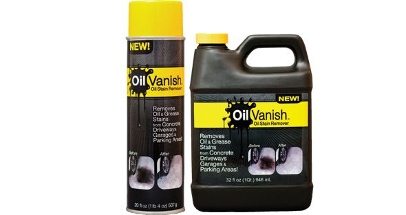 Oil vanish goes below the surface to lift and remove oil for Motor oil stain removal from concrete
