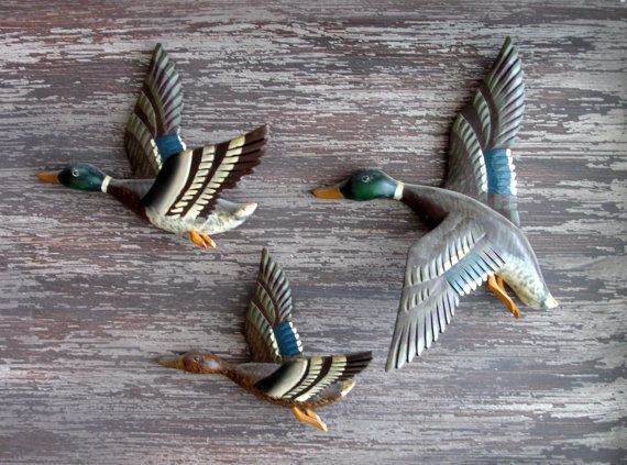 vintage flying duck wall art painted wooden ducks