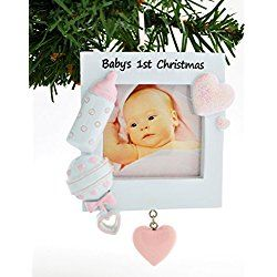 PERSONALIZED CHRISTMAS ORNAMENT PINK BABY'S 1ST CHRISTMAS PICTURE FRAME
