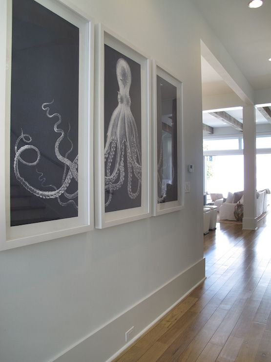 Romair Homes - entrances/foyers - Lord Bodner Triptych, octopus art, octopus triptych, Foyer features Lord Bodner's Octopus Triptych.