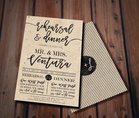 Rustic Rehearsal Dinner Invitation Rustic by FlyOnTheWallink