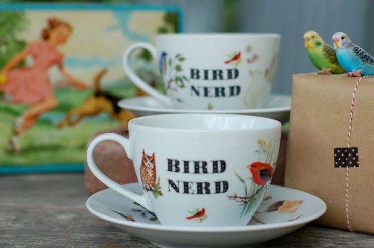 bird nerd - cute!Kitchens Stuff, Teas Cups, Nerd Teacups, Nerd Teas, China Teacups, Birds Art Crafts Nicnac, Birds Nerd, Birds Things, Teas Parties